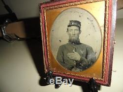 CIVIL War Union Infantry Soldier 6th Plate Ruby Ambrotype Half Case Hand Heart