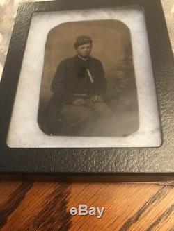 CIVIL War Union Infantry Soldier 6th Plate Tintype Company B Kepi Shell Jacket
