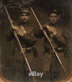 CIVIL War Union Soldiers Jacksonville Fl Artistic Pose Rifles Letter Kepi Photo