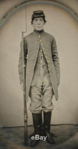 Ca 1860's CIVIL WAR 1/4 PLATE TINTYPE ARMED UNION SOLDIER