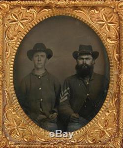 Ca 1860's CIVIL WAR 6th PLATE TINTYPE PAIR OF CIVIL WAR UNION SOLDIERS