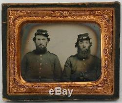 Ca 1860's CIVIL WAR 9th PLATE RUBY AMBROTYPE PAIR OF UNION SOLDIER withPARTIAL ID