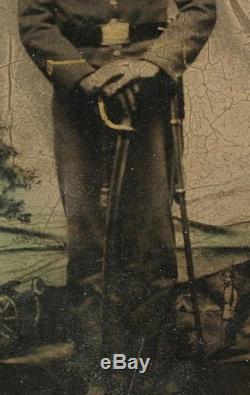 Ca 1860's CIVIL WAR CDV SIZE TINTYPE ARMED UNION INFANTRY SOLDIER