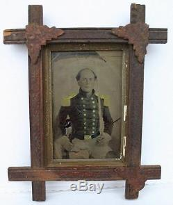 Ca 1860's CIVIL WAR LARGE PLATE TINTYPE ARMED UNION SOLDIER in PERIOD WOOD FRAME