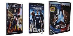 Captain America 1 2 3 DVD First Avenger + Winter Soldier + Civil War US seller