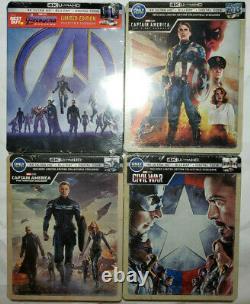 Captain America First Avenger+Winter Soldier+Civil War+Endgame 4x 4K STEELBOOKS