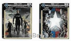 Captain America Winter Soldier & Civil War SteelBooks 4K+Blu+Codes PRE-ORDER