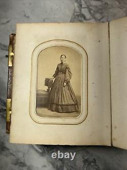 Circa 1870's Leather Photograph Album with locks. Civil War Soldier, Abe Lincoln