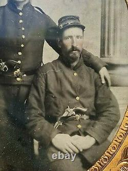 Civil War 1/4 Plate Octagonal Ambrotype Photo Two Armed Union Soldiers Brothers