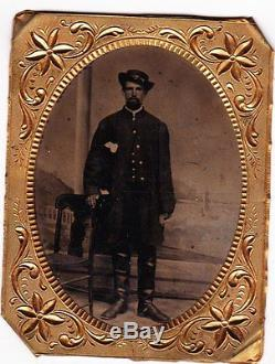 Civil War 1/4 Plate Tintype of Union Soldier/Officer with tall Boots in Case
