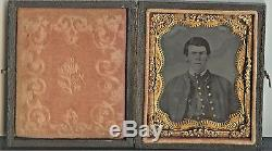 Civil War 1/9 Plate Cased Tintype Union Soldier CORPS BADGE Diseased Face