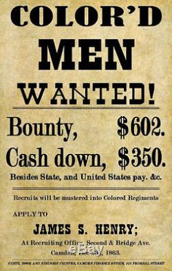 Civil War 1863 Colored Soldier Recruitment Poster 11X17 Camden New Jersey NJ