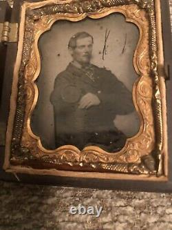 Civil War 9th Plate Ambrotype Soldier Sack Coat & Kepi Thermoplastic Image case