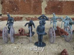 Civil War Artillery Toy Soldier Set Cannons Union Confederate Playset Infantry