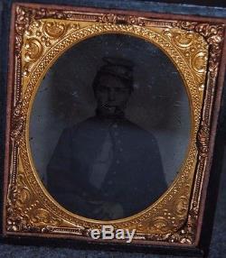 Civil War Black Soldier Smoking Cigar withUniform Patriotic Case 1/6 Plate Tintype
