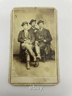 Civil War CDV Photo 3 Union Soldier Off Duty With Calvary Boots Dated March 1865