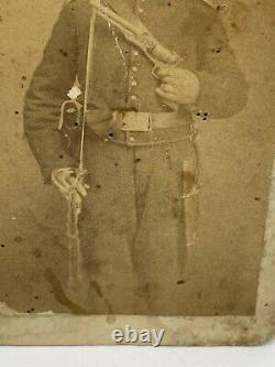 Civil War CDV Photo Union Soldier Holding Sword & Pistol