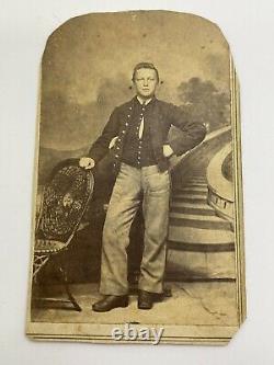 Civil War CDV Photo Young Soldier Boy Reading PA