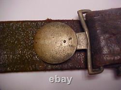 Civil War CONFEDERATE Soldier 2 Pc Plain Tongue BUCKLE on BELT All Original