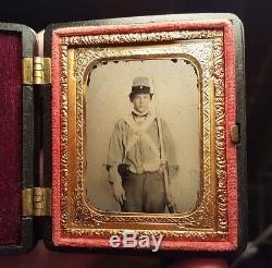 Civil War Confederate Ambrotype of Armed Virginia Soldier Early War