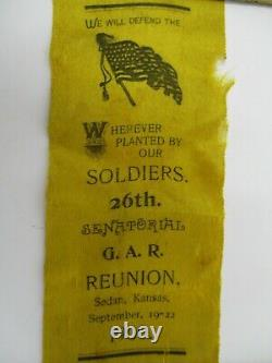 Civil War GAR Reunion Yellow Ribbon Circa 1900 Sedan Kansas Union Soldiers