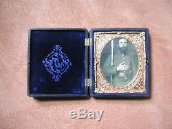 Civil War Gutta Percha Photo Case of Confederate Soldier With Musket & Sidearm