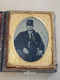 Civil War Identified Soldier 1/4 Plate Tintype Image