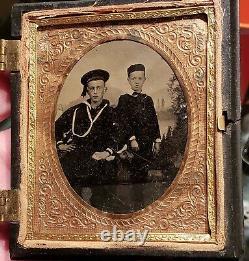 Civil War Navy Naval Tintype of Soldier and kid