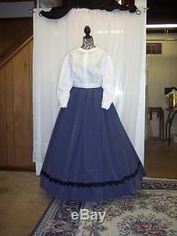 Civil War Skirt, Fitted Jacket, & Blouse in Soldier Blue with Black Trim