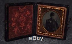 Civil War Soldier 1/16 Plate Tintype Wood Case withClasp