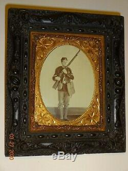 Civil War Soldier 1/4 Plate (Paper) Photo Thermoplastic Plastic Hanging Wall F
