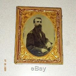 Civil War Soldier 1/4 Plate Tintype 1/2 Case