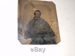 Civil War Soldier 1/6 Plate Tintype Full Case