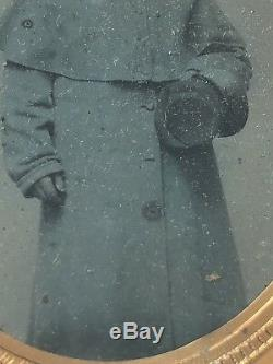 Civil War Soldier Ambrotype Photo In Overcoat New Hampshire IDd Geo. Bunce
