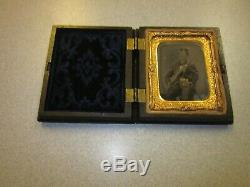 Civil War Soldier (Armed) 1/9 Plate Ambrotype Thermoplastic Case