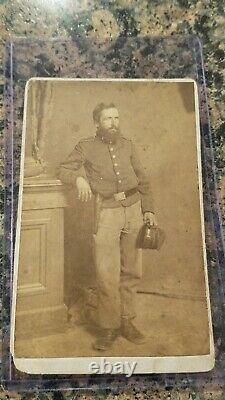 Civil War Soldier CDV Image ID'd D Washburn Holding McDowell Style Kepi & Armed