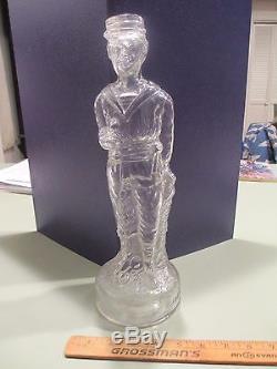 Civil War Soldier Figural French Bottle c1910 with hat/kepi lid 13 3/4