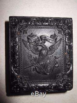 Civil War Soldier (Letter On Hat) 1/9 Ambrotype Patriotic Case