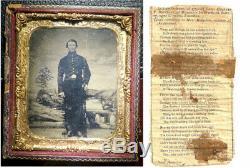 Civil War Soldier Photo Tintype Memorabilia withObit
