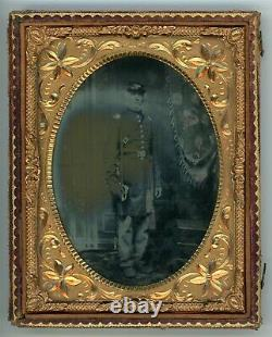 Civil War Soldier Standing Holding Sword Quarter Plate (1/4 Plate Ambrotype)