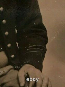 Civil War Soldier Tintype with Service Stripes on Coat, Sixth Plate with Case