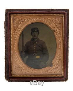 Civil War Soldier withMusket & Quick Draw Pistol-Original Tin Type c. 1863