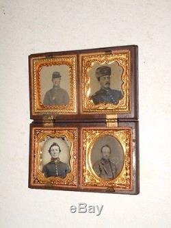 Civil War Soldiers 1/16 Ambrotype Rare Thermoplastic Case