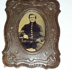 Civil War Soldiers (2) Tintype Images set into Hanging Wall Frames