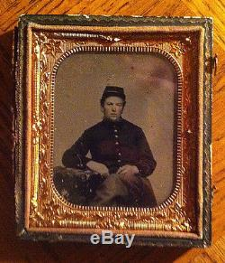 Civil War Tin Type of sitting soldier Condition Very Good Missing front cover