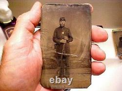 Civil War Tintype Grouping Soldier withMusket and Tax Stamp and Tintype of Family