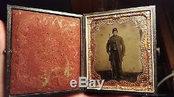 Civil War Tintype of young armed soldier nice image full case