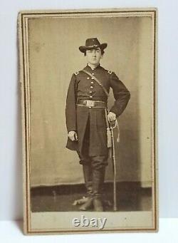 Civil War Union Army soldier, uniform, sword, cavalry hat, CDV photo