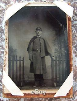 Civil War Union Soldier Large Tintype Photograph in Velvet Mourning Frame