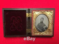Civil War Union Soldier Sitting with Sword Tintype Photo